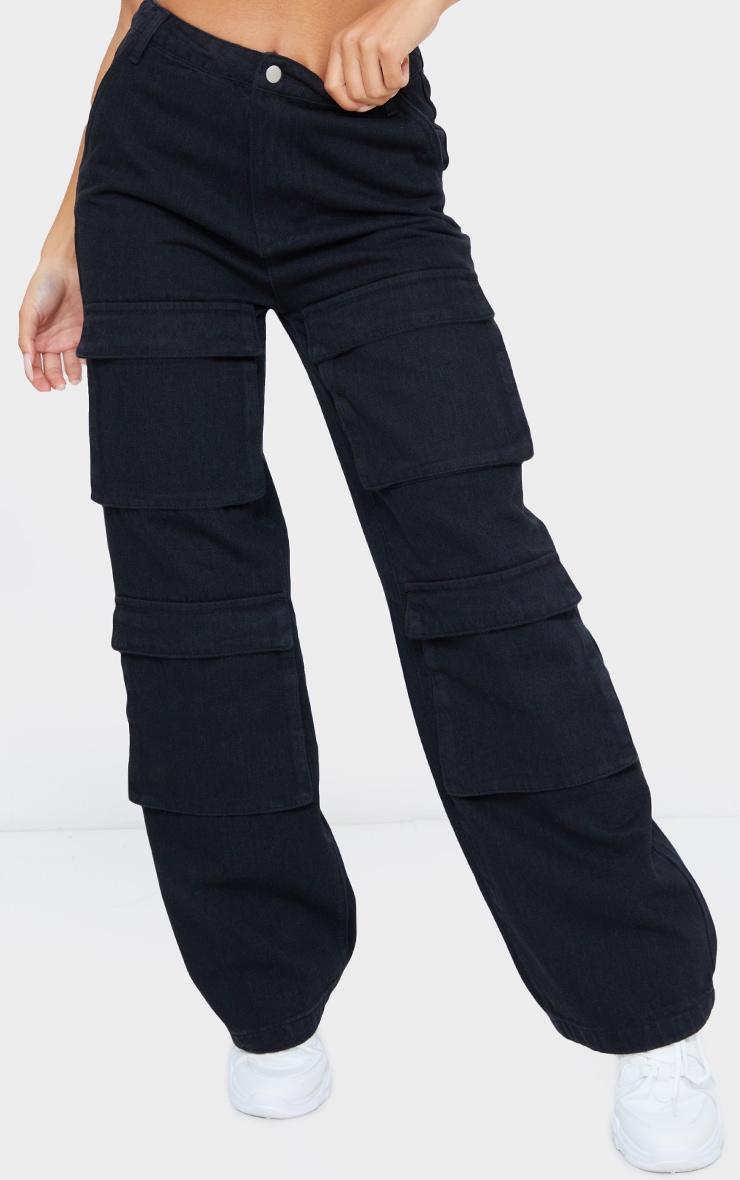 Washed Black Front Cargo Pocket Wide Leg Jeans 2