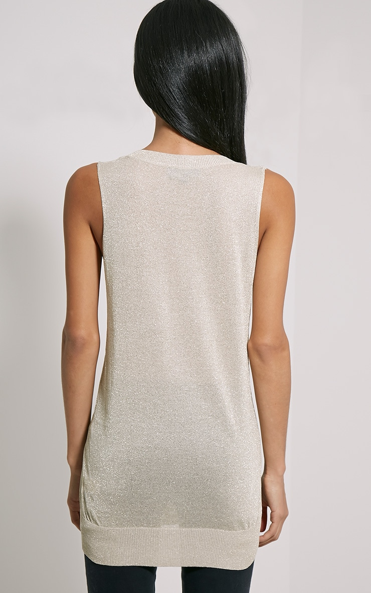 Ceara Taupe Sleeveless Metalic Knitted Vest 2