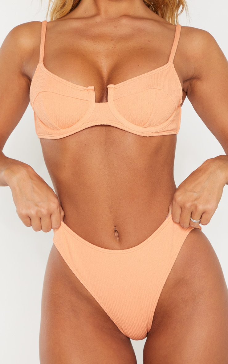 Peach Mini Crinkle Bikini Bottom 5