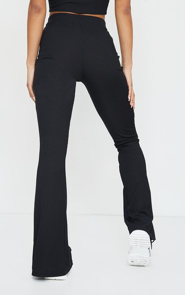 Black Rib Split Hem Flared Trousers 3