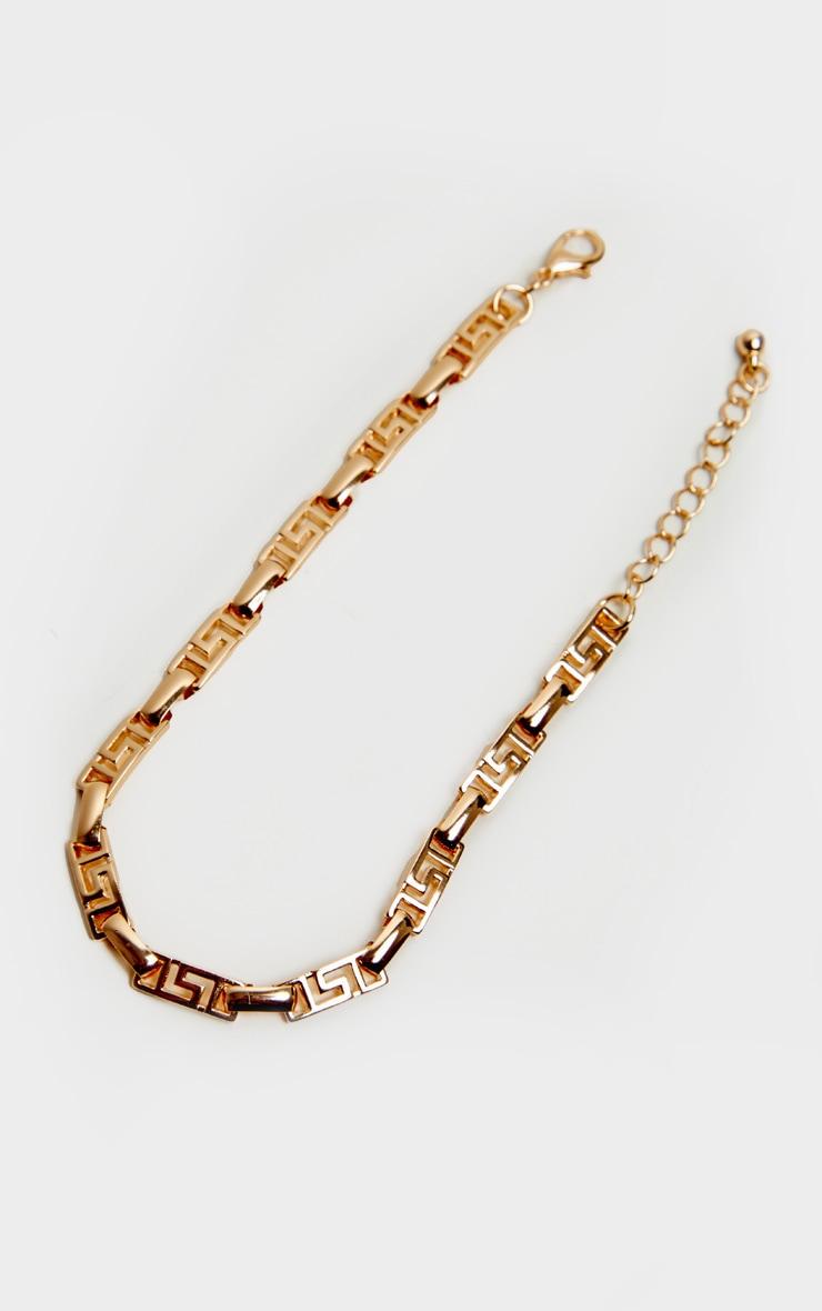 Gold Greek Key Link Anklet 3