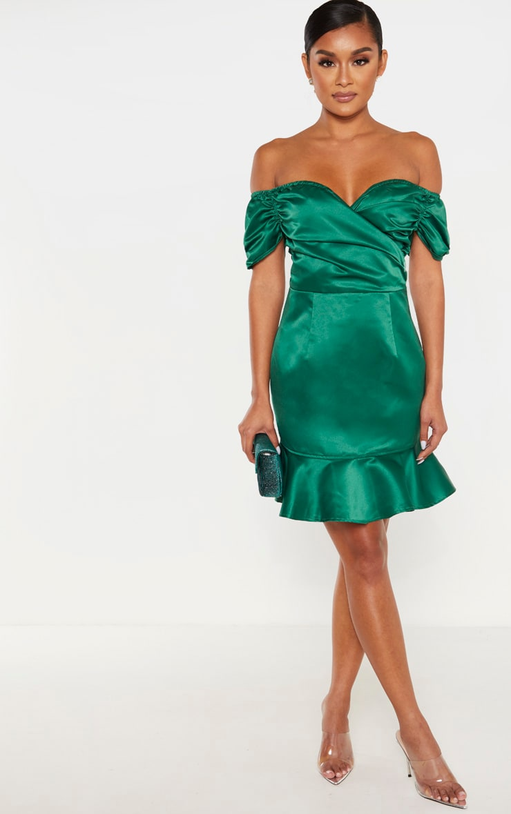 Emerald Green Bonded Satin Bardot Wrap Front Bodycon Dress 1