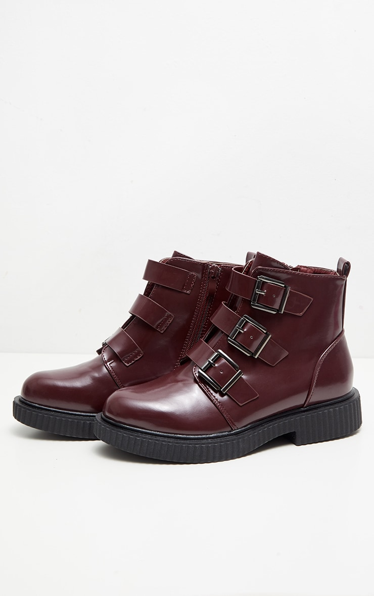 Burgundy Triple Buckle Biker Boot 3