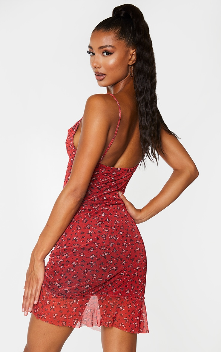 Red Ditsy Floral Print Mesh Ruched Bodycon Dress 2