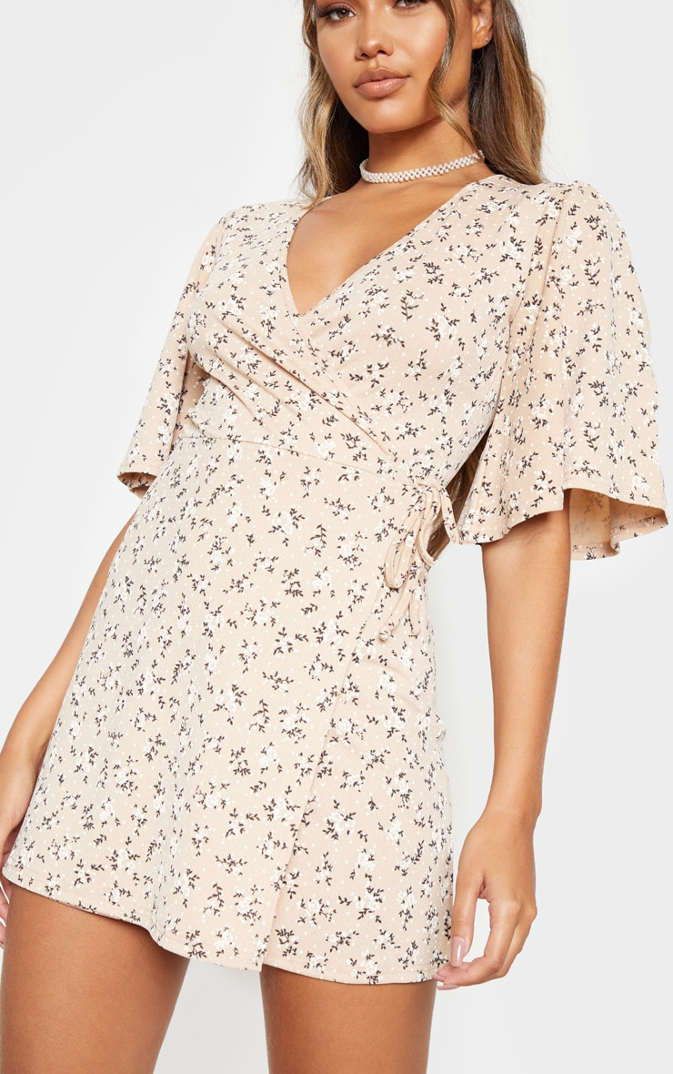 Beige Ditsy Floral Tie Wrap Tea Dress 5