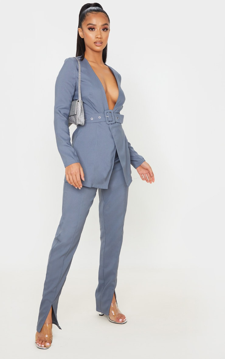 Petite Petrol Blue Split Hem Woven Suit Pants 1
