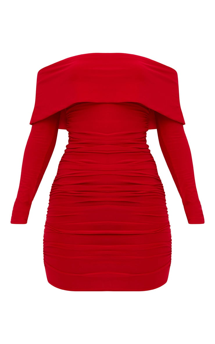 Red Long Sleeve Bardot Ruched Bodycon Dress 3