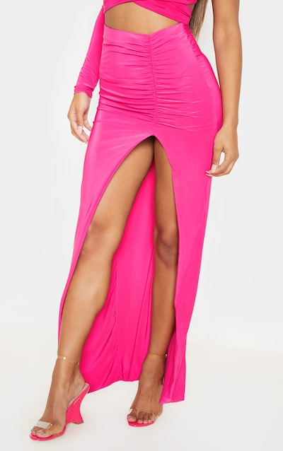 Hot Pink Slinky Ruched Detail Extreme Split Maxi Skirt