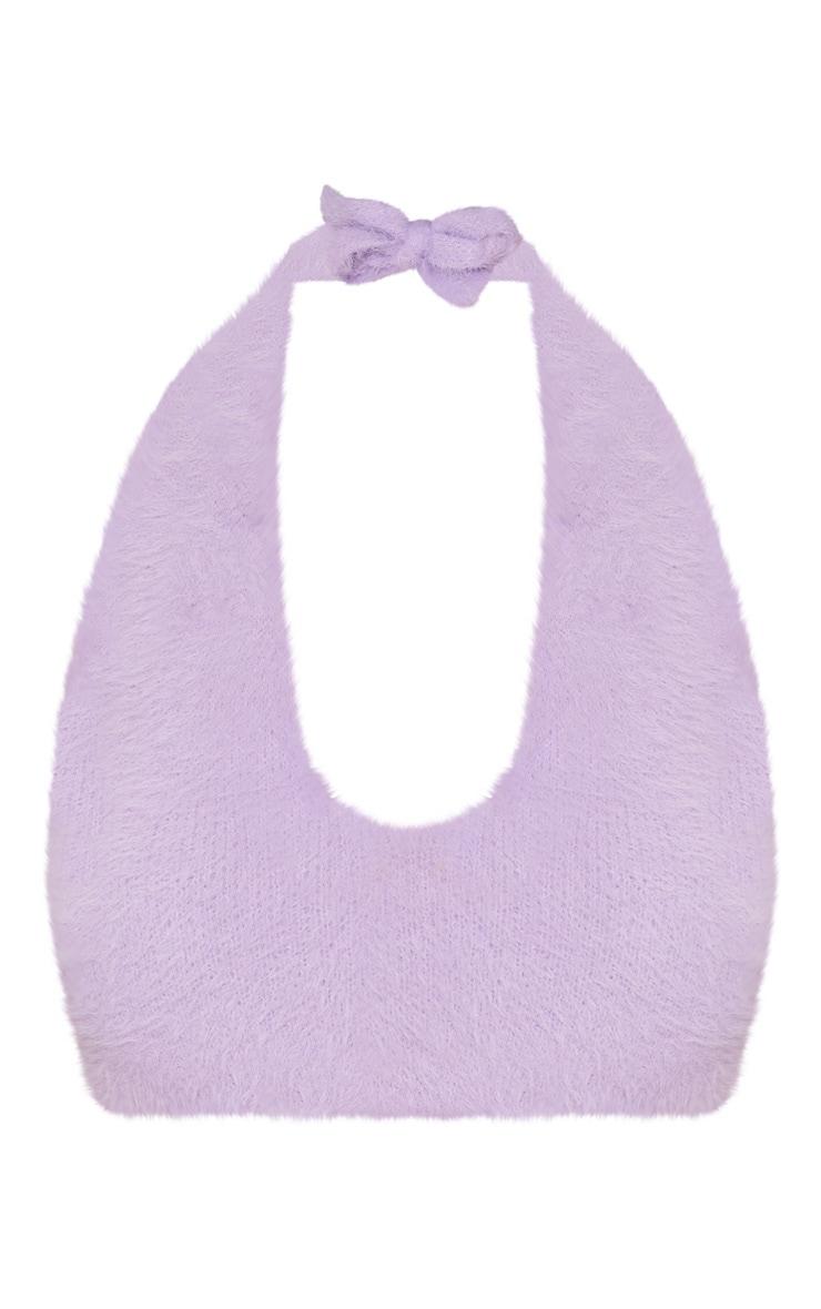 Lilac Eyelash Knit Halterneck Bralet 3