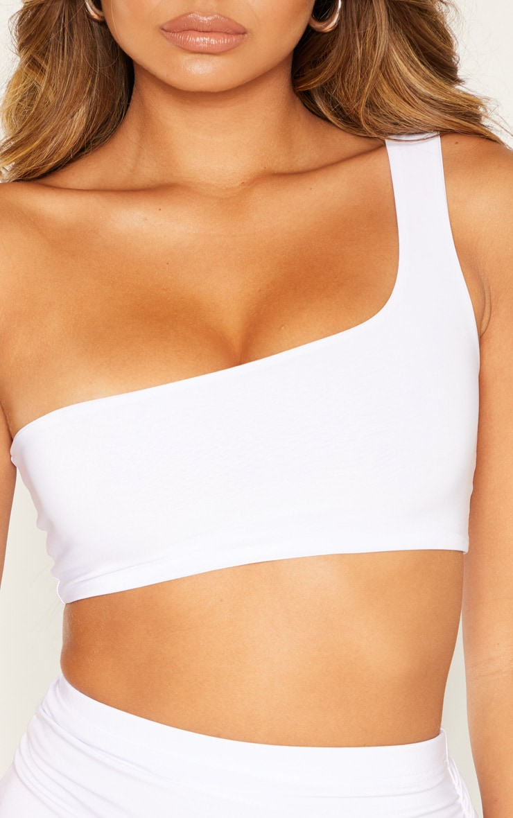 White Slinky One Shoulder Crop Top 5