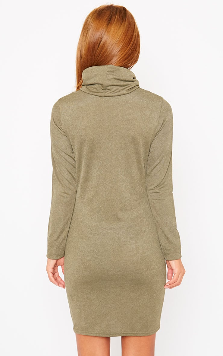Catrina Khaki Roll Neck Dress 2