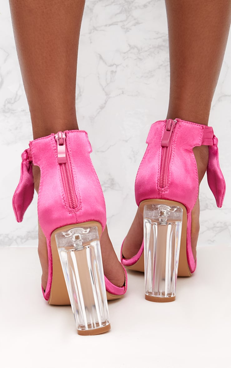 Pink Satin Bow Clear Heel Sandal 4