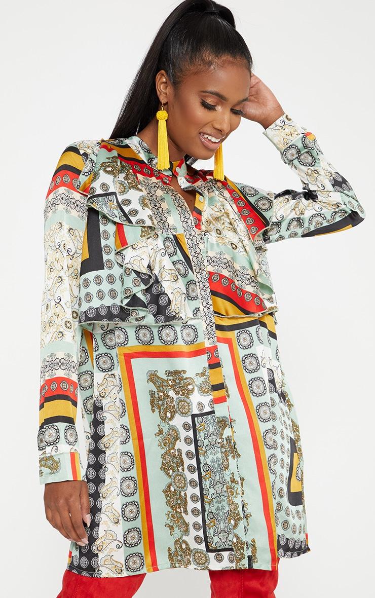 Green Scarf Print Frill Front Shirt Dress 1