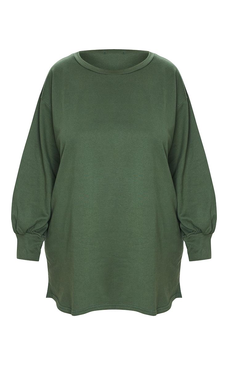 Plus Khaki Oversized Sweatshirt Dress 5