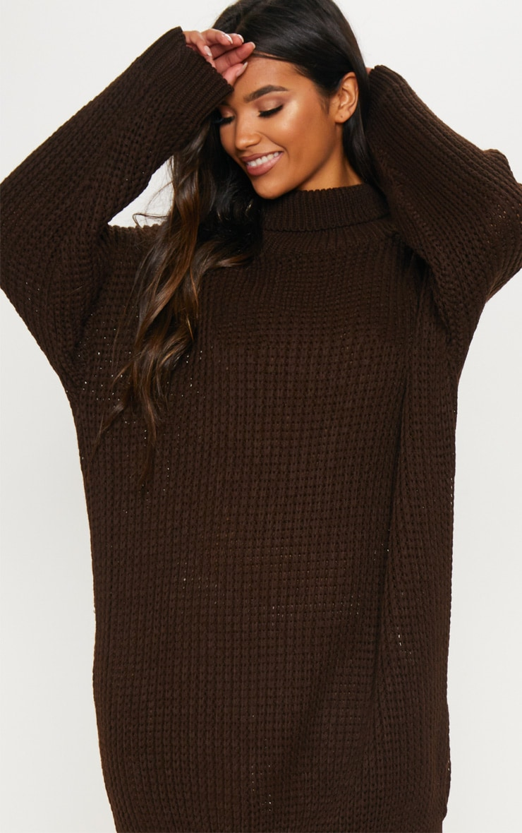 Brown Oversized High Neck Knitted Jumper Dress  4