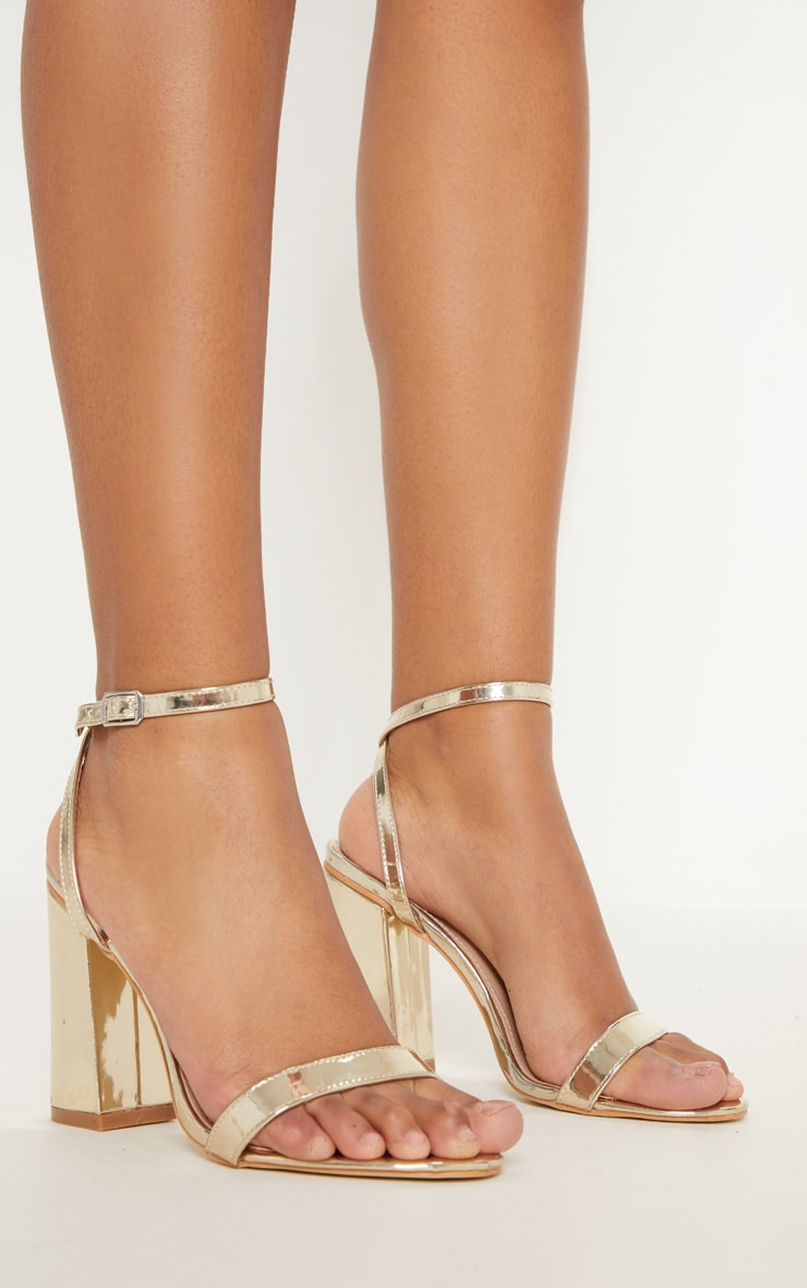 Gold Ankle Strap Block Heel 2