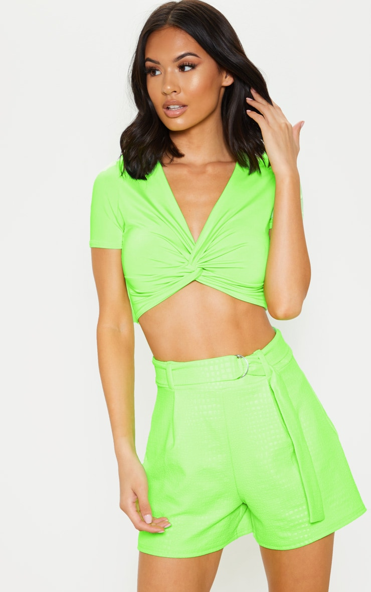 Neon Green Croc Print D Ring Belted Short 1