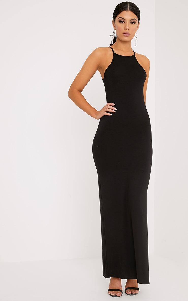 Basic robe maxi classique noire à col carré 4