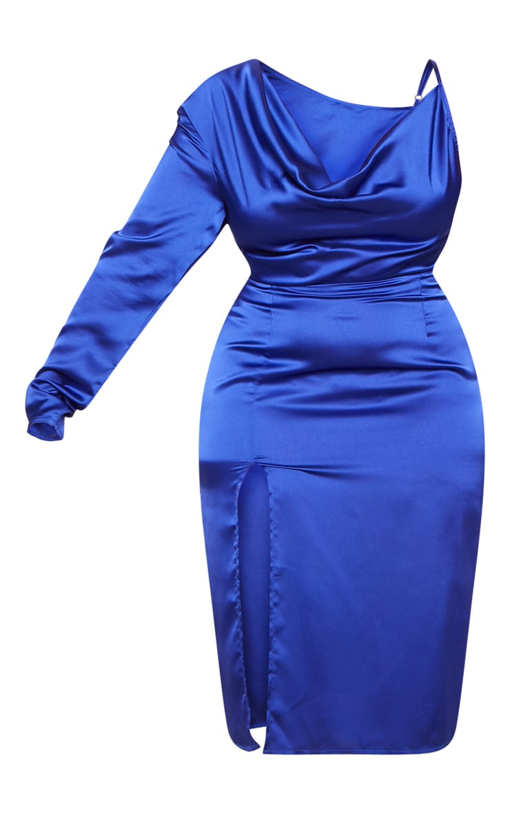 Cobalt Satin Cowl Neck Extreme Split Midi Dress 4