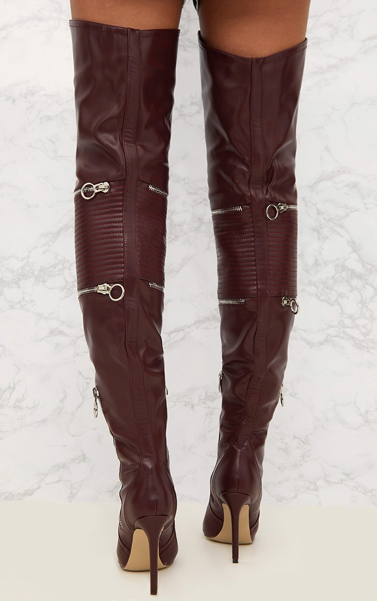 Burgundy Thigh High Heeled Biker Boots  4