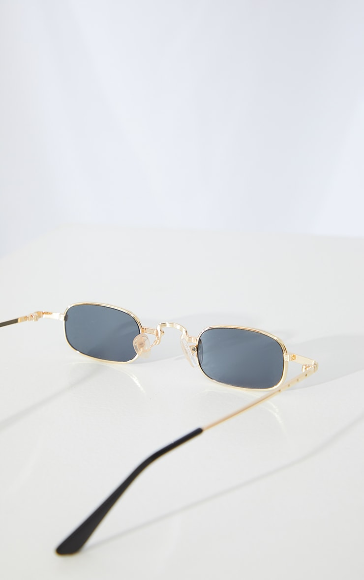 Gold Slim Square Lens Sunglasses 3