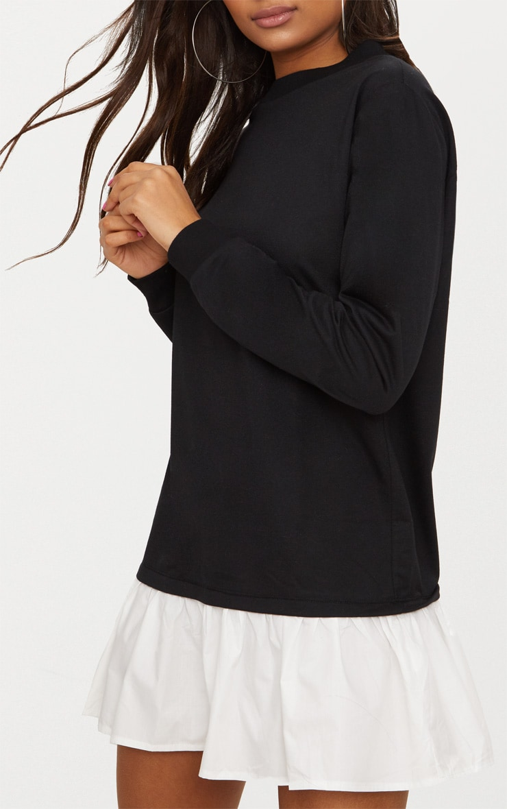 Black Sweater Dress with Poplin Frill 4