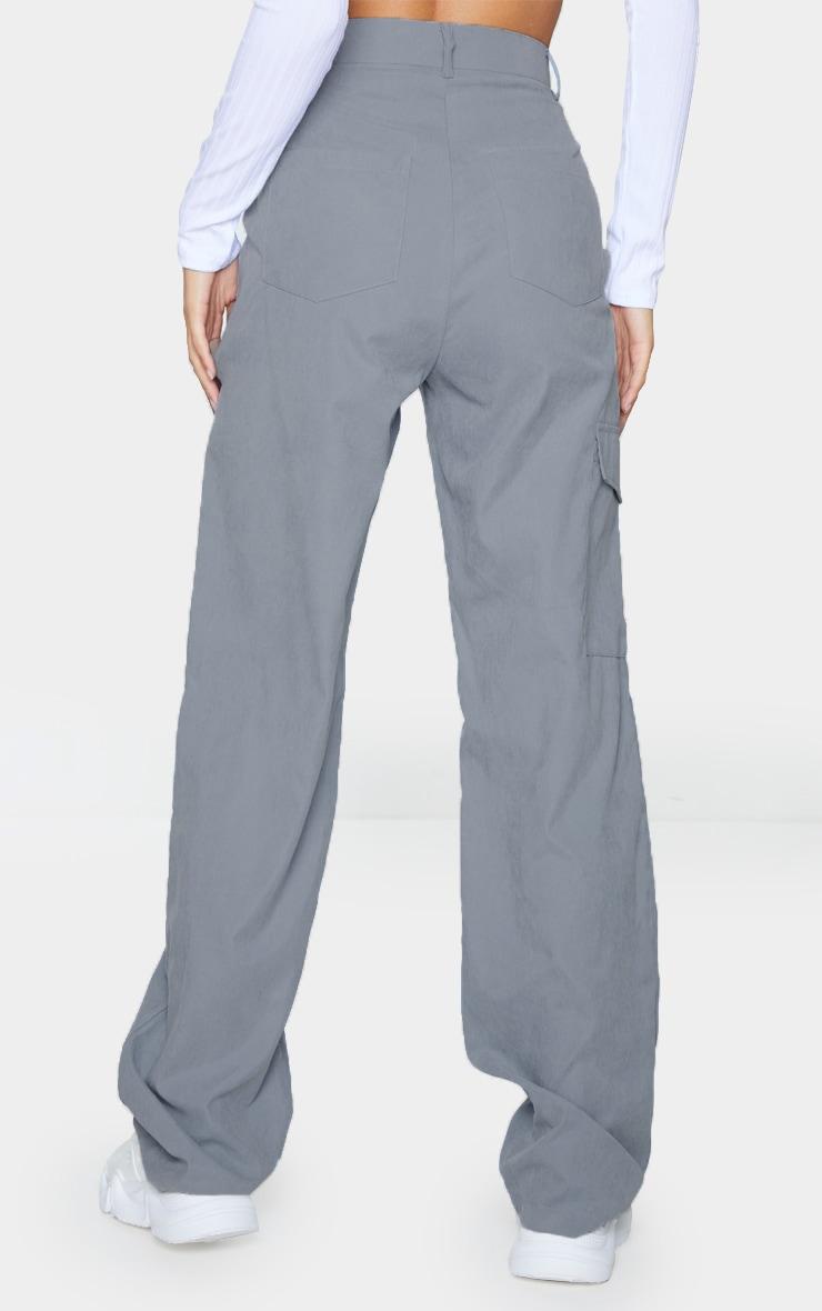 Grey Peached Finish Wide Leg Cargo Pants 3