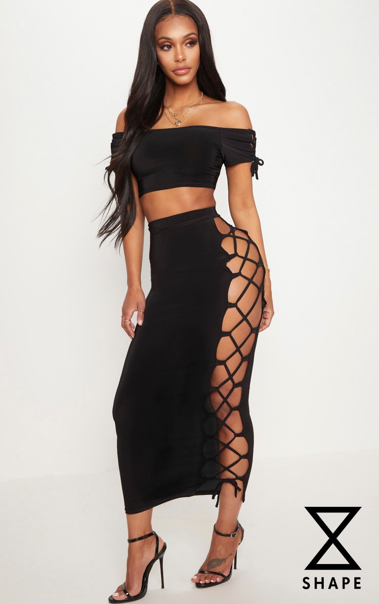 Shape Black Slinky Lace Up Detail Midi Skirt 1