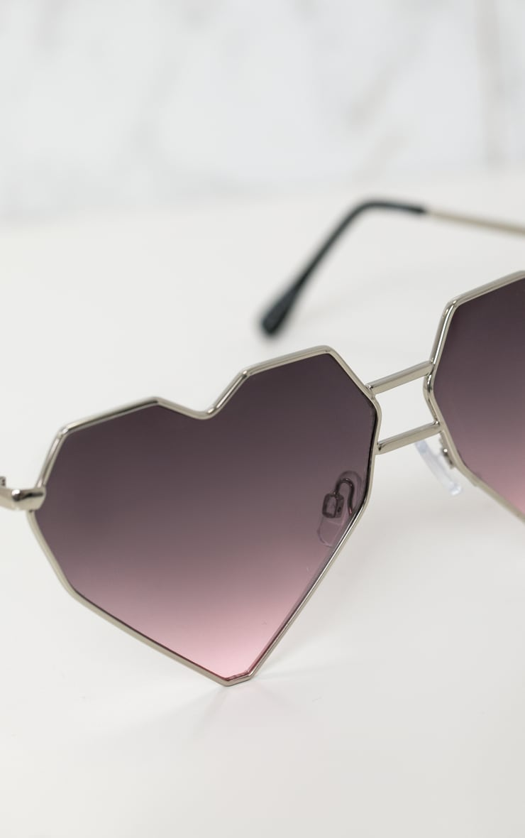 Gold Structured Heart Sunglasses 4