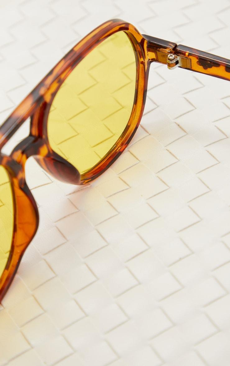 Yellow Lens Tortoise Aviator Sunglasses 3