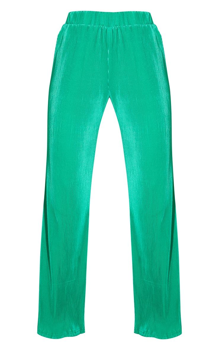 Bright Green Elasticated Waist Plisse Wide Leg Trousers 5
