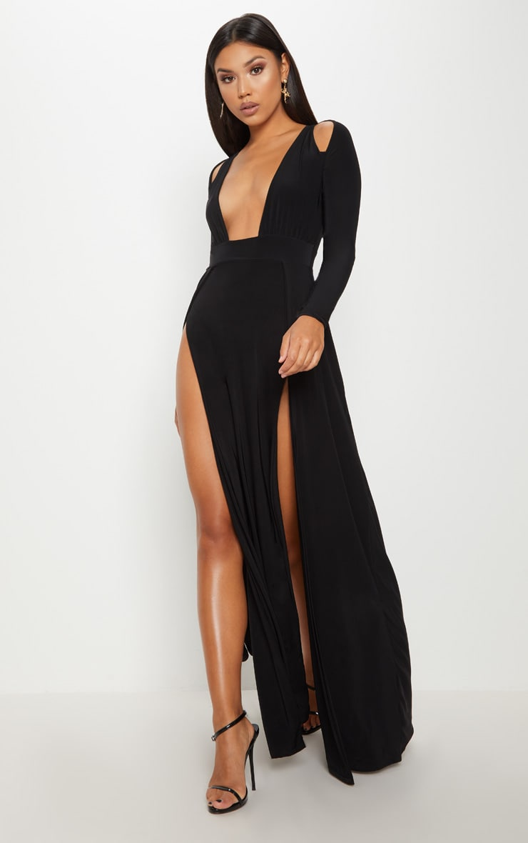 Black Plunge Extreme Split Leg Maxi Dress 4