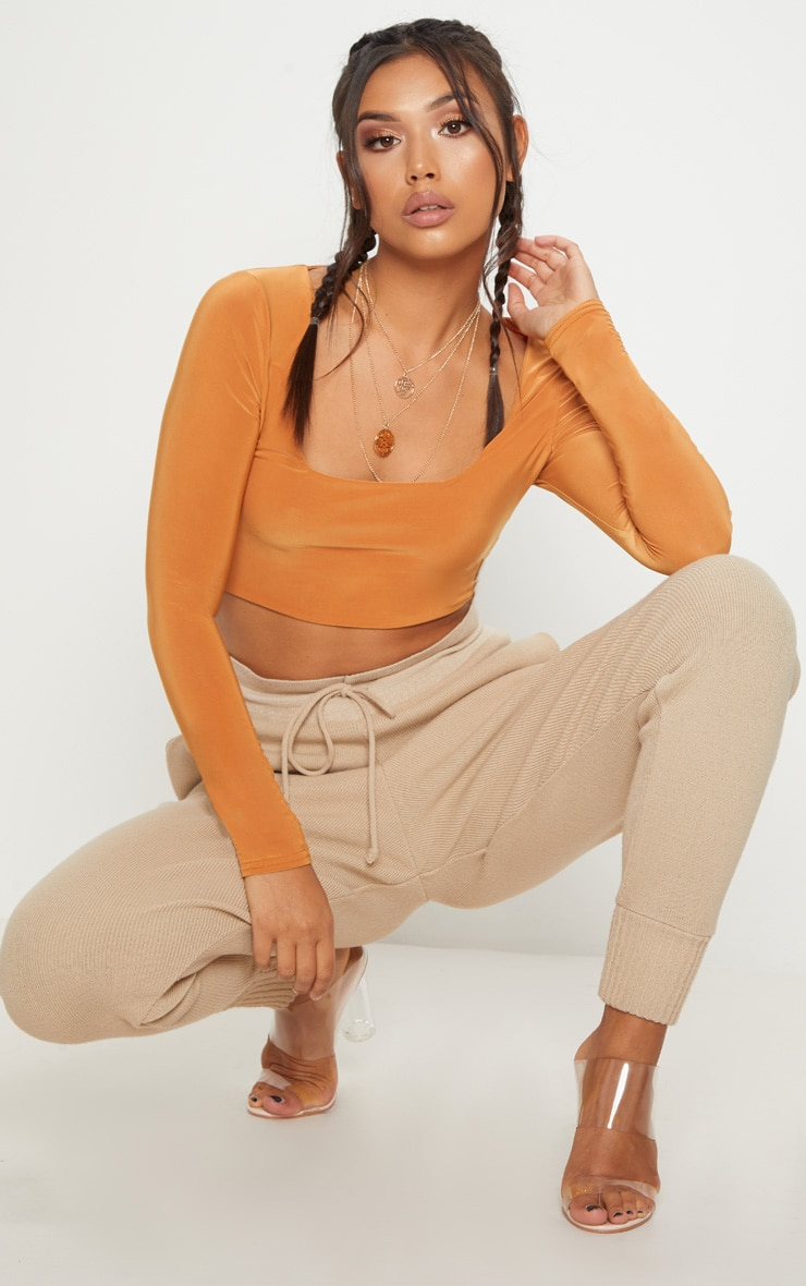 Tangerine Second Skin Square Neck Long Sleeve Crop Top  1
