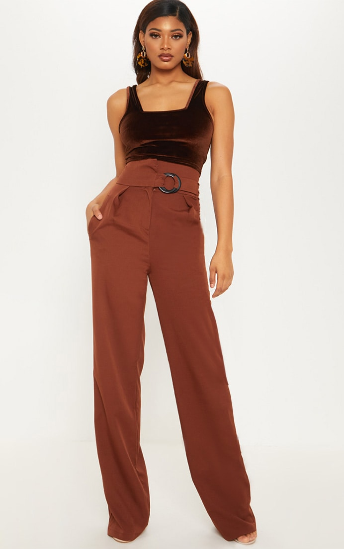 Tall Chocolate Brown Belt Ring Detail Wide Leg Pants 1