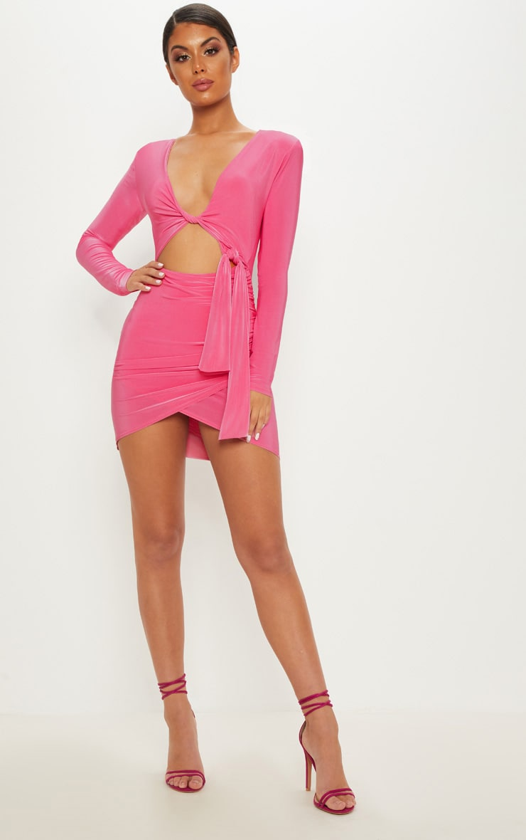 Hot Pink Double Layered Shoulder Pad Wrap Front Bodycon Dress  3