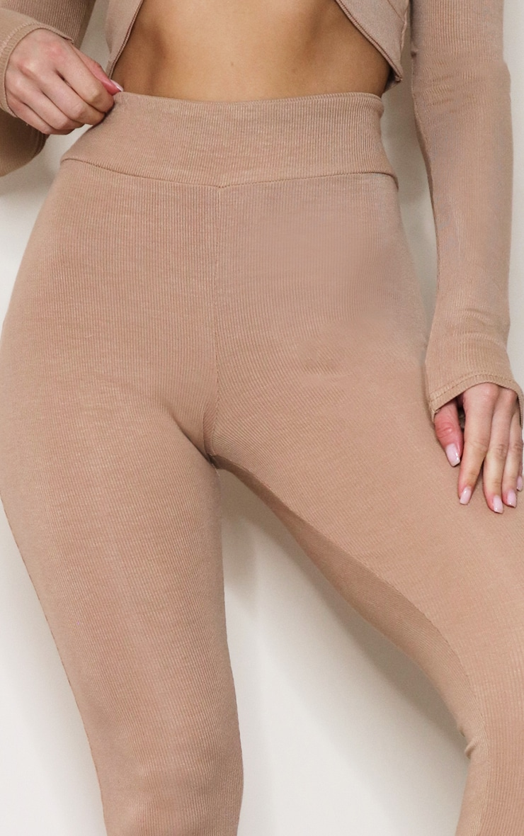 Camel Wide Soft Ribbed Leggings 4
