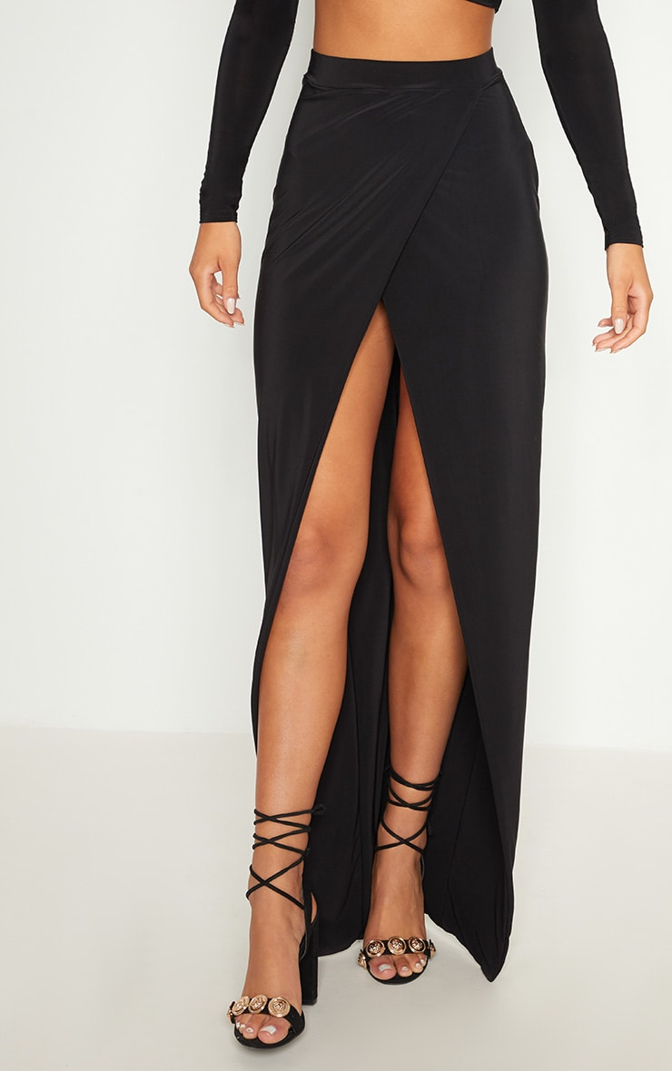 Black Slinky Wrap Front Maxi Skirt 2