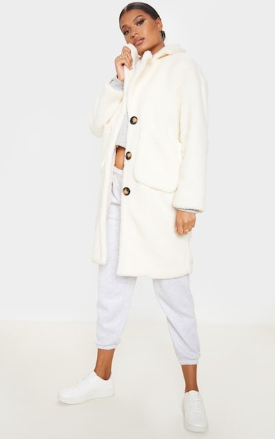 Cream Borg Longline Coat