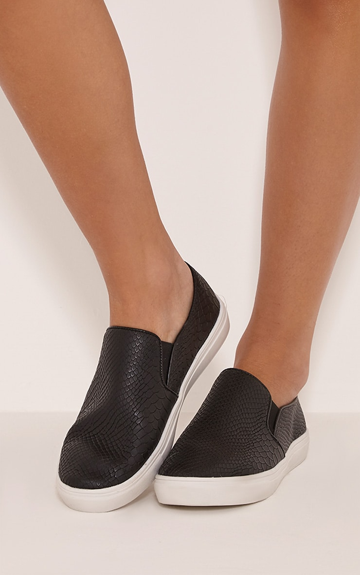 Zara Monochrome Faux Snakeskin Slip On Trainers 1