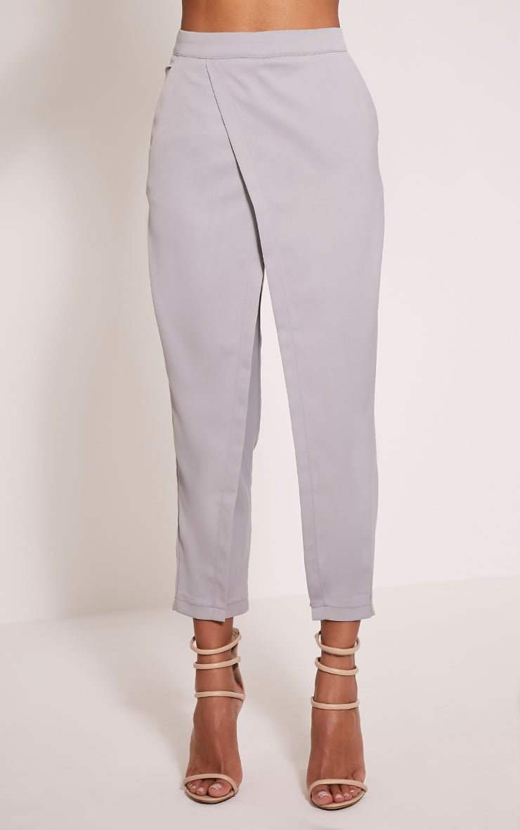 Petite Rachel Grey Cross Front Trousers 2