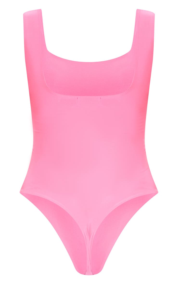 Neon Pink Second Skin Square Neck Sleeveless Thong Bodysuit 4