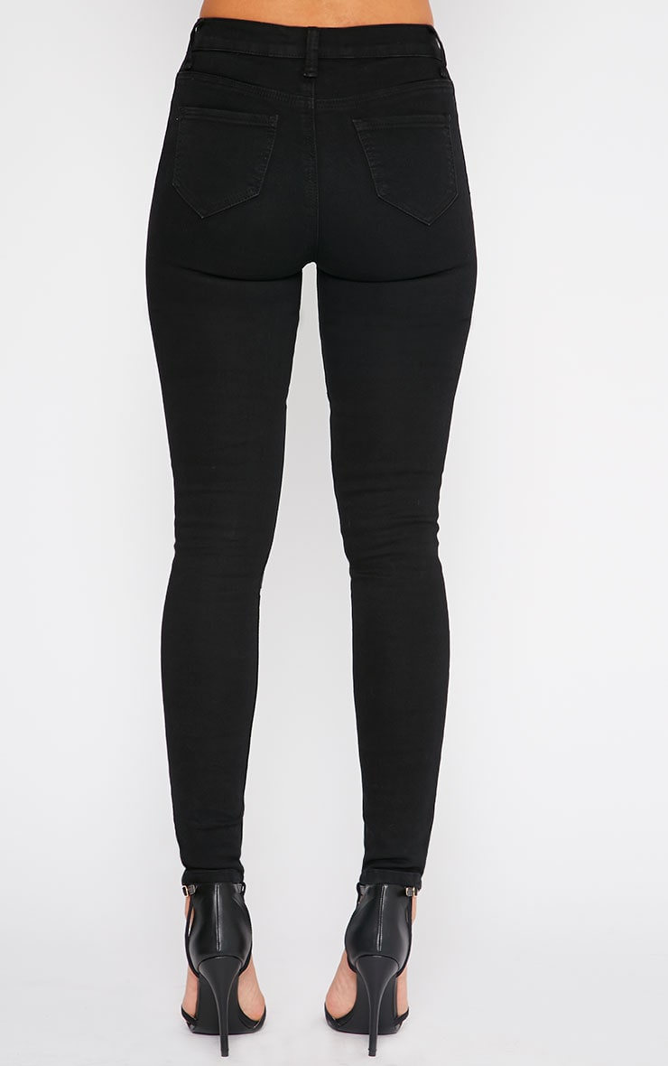 Abigail Black Grey Knee Patch Jeans 4