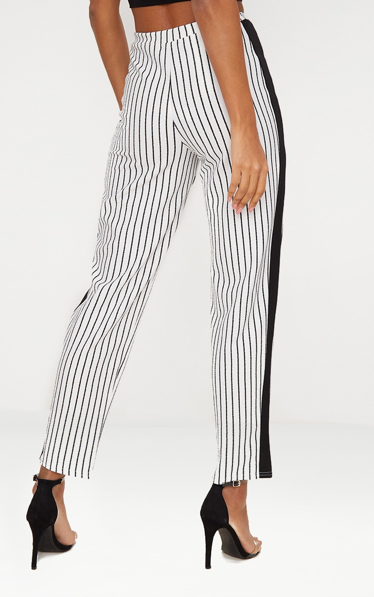 White Stripe Contrast Panel Trouser  4