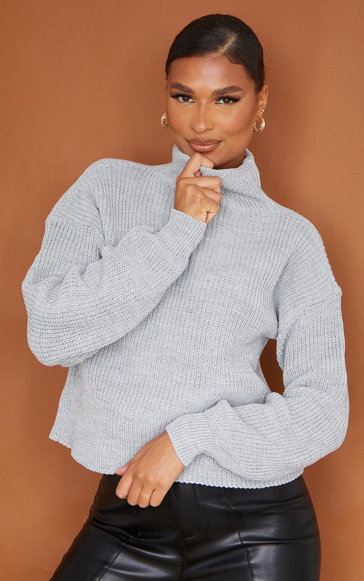 Grey High Neck Sweater 1