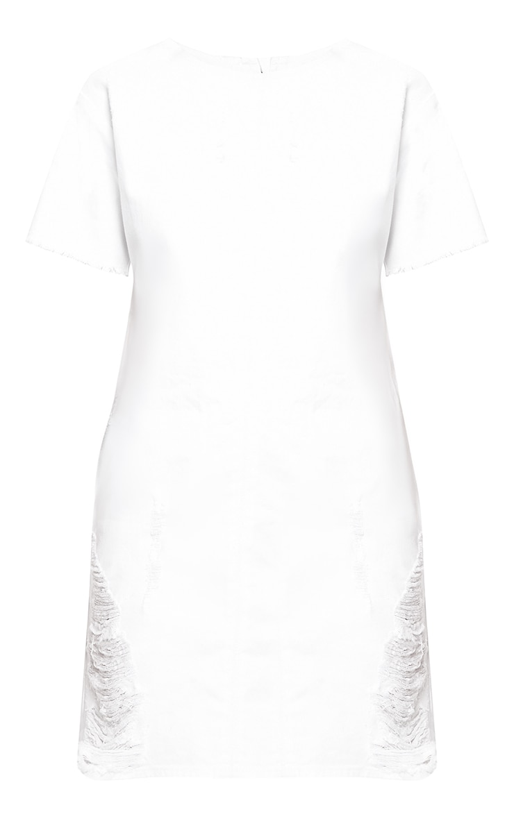 White Super Shred Denim Mini Dress 3