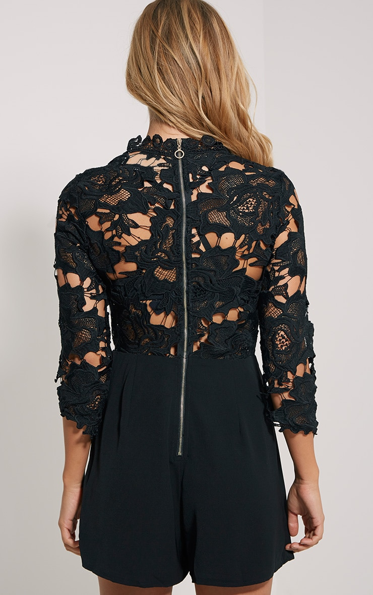 Elmira Black Lace Top Playsuit 2