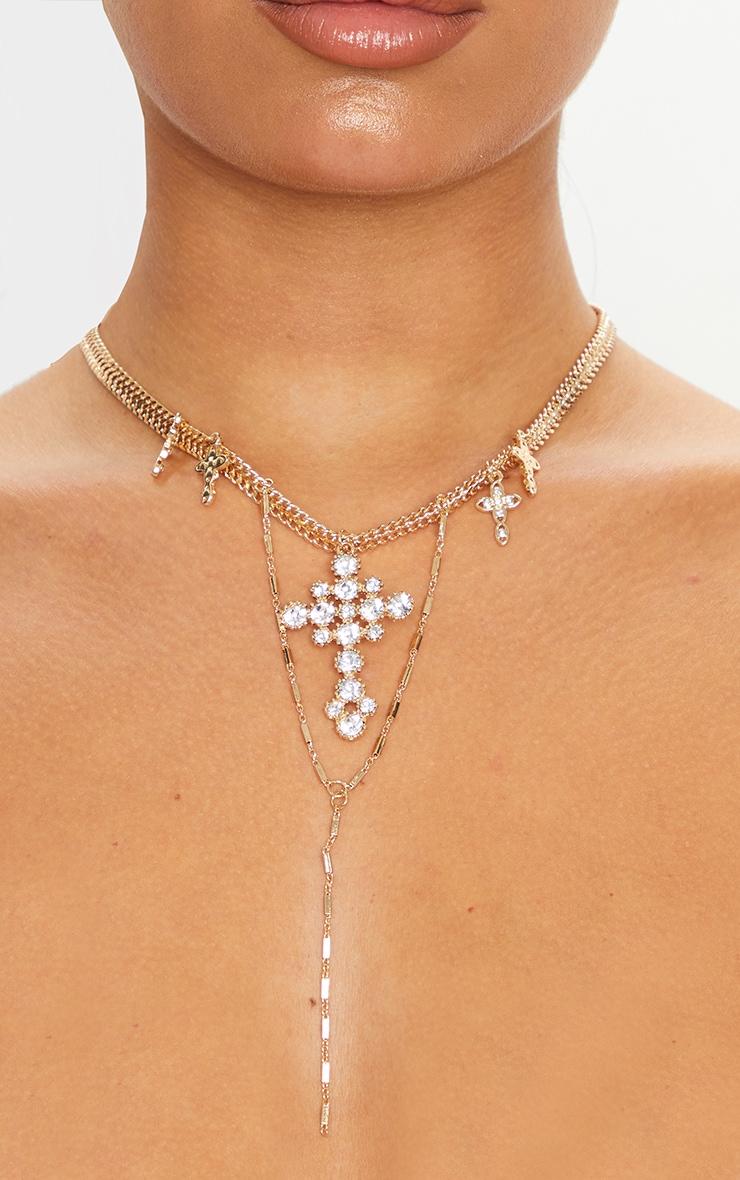 Gold Cross Diamante Multi Layering Necklace 2