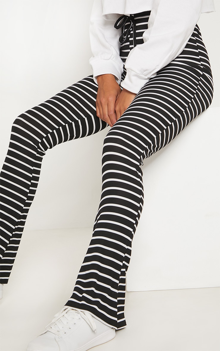 Petite Black Striped Flared Pants 5