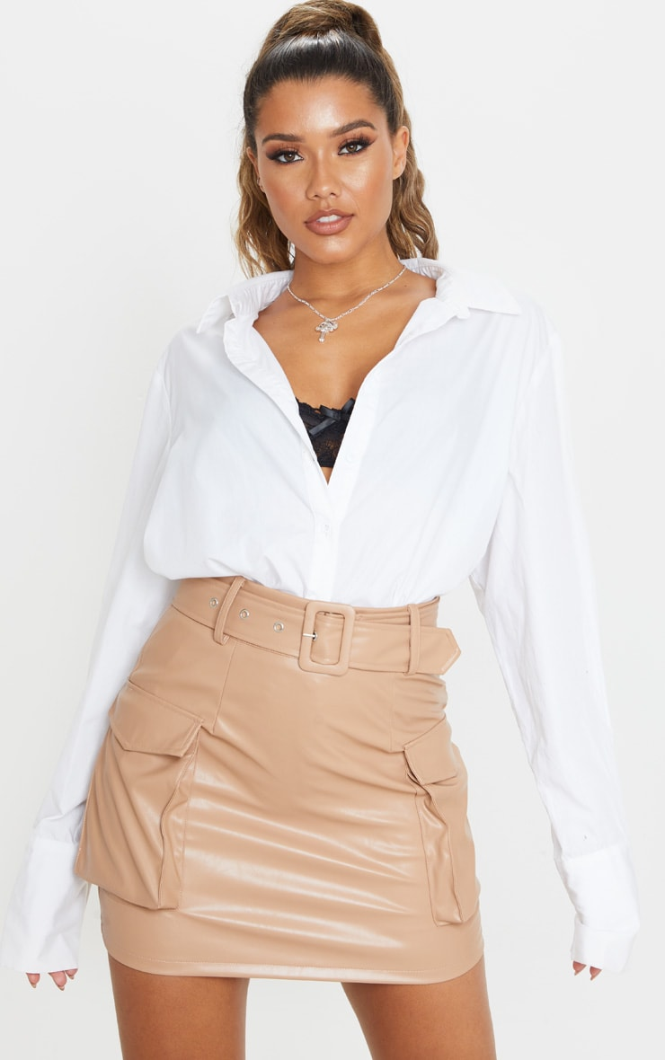 Camel Faux Leather Belted Cargo Pocket Mini Skirt 5