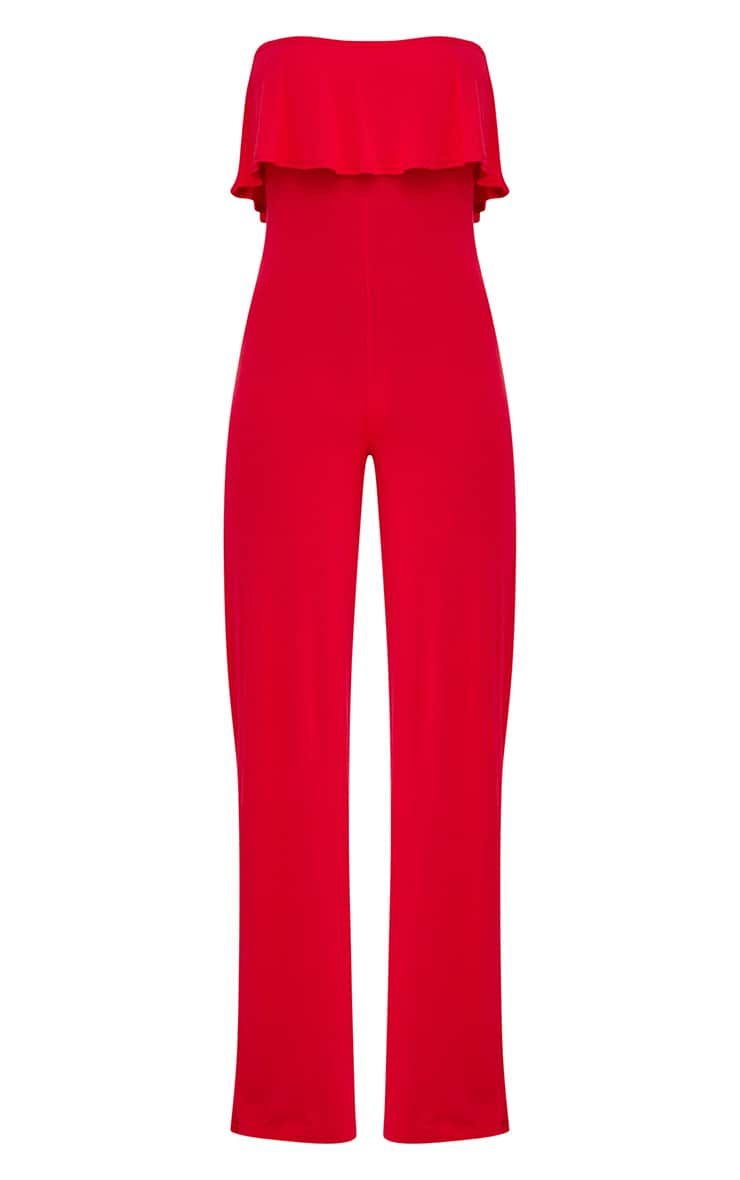 Red Jersey Bandeau Frill Jumpsuit 3